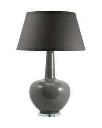 Porcelain Table Lamp In Taupe by