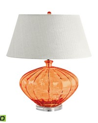 Recycled Fluted Glass Urn LED Table Lamp In Orange by