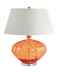 Recycled Fluted Glass Urn Table Lamp In Orange by