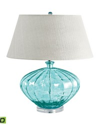 Recycled Fluted Glass Urn LED Table Lamp In Blue by
