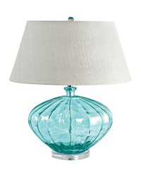 Recycled Fluted Glass Urn Table Lamp In Blue by