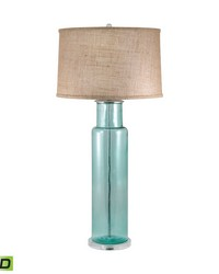 Recycled Glass Cylinder LED Table Lamp In Blue by