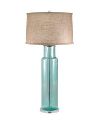 Recycled Glass Cylinder Table Lamp In Blue by