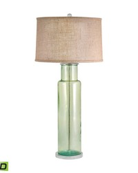 Recycled Glass Cylinder LED Table Lamp In Green by