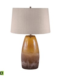 Amber Crackle Arctic Glass LED Table Lamp by