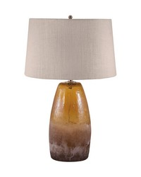 Amber Crackle Arctic Glass Table Lamp by