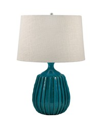 Ribbed Terra Cotta Table Lamp In Sky Blue by