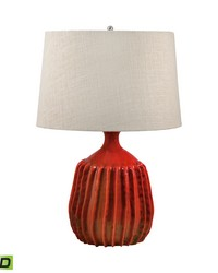 Ribbed Terra Cotta LED Table Lamp In Tomato Red by