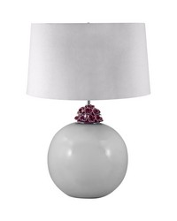 Ceramic Ball Table Lamp In White And Amethyst by