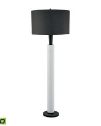 Modern Wood And White Bisque Ceramic LED Floor Lamp by