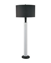 Modern Wood And White Bisque Ceramic Floor Lamp by