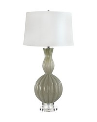 Glass Gourd Table Lamp In Taupe by