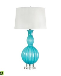 Glass Gourd LED Table Lamp In Powder Blue by