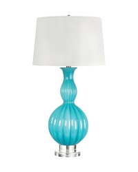 Glass Gourd Table Lamp In Powder Blue by