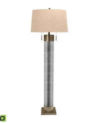 Mercury Glass Cylinder LED Floor Lamp With Antiqued Brass Accents by
