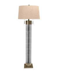 Mercury Glass Cylinder Floor Lamp With Antiqued Brass Accents by