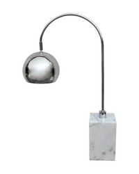 White Marble Base Arc Desk Lamp by