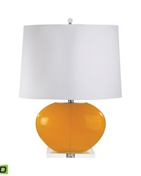 Blown Glass Oval LED Table Lamp In Orange Set of 2 by