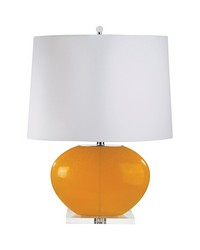 Blown Glass Oval Table Lamp In Orange Set of 2 by