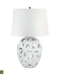 Open Work Bisque Ceramic LED Table Lamp In White by