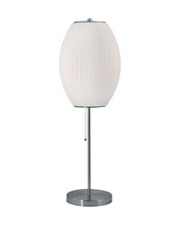 Cigar Table Lamp In Satin Nickel And White by