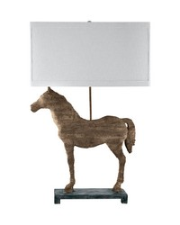 Carved Horse Table Lamp by