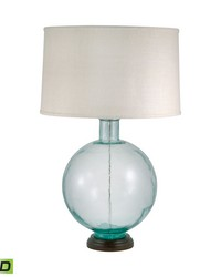 Aquamarine Recycled Glass Orb LED Table Lamp by