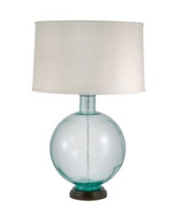 Aquamarine Recycled Glass Orb Table Lamp by