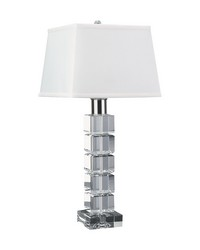 Beveled Crystal Square Table Lamp by