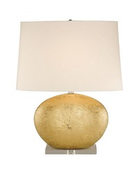 Gold Oval Ceramic Table Lamp by