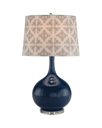 Cobalt Serrated Ceramic Table Lamp by