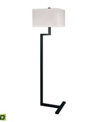 Right Angle Metal LED Floor Lamp In Bronze by