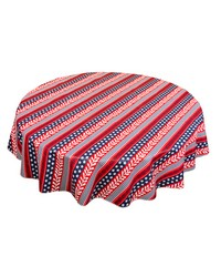 Americana 60 Round vinyl flannel backed tablecloth Red White Blue by