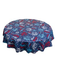 USA 60 Round vinyl flannel backed tablecloth Red White Blue by