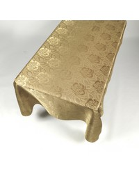 Rose Damask 60x108 Fabric Tablecloth in Gold by