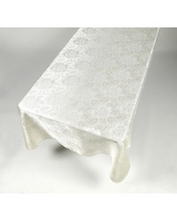 Rose Damask 60x108 Fabric Tablecloth in Ivory by