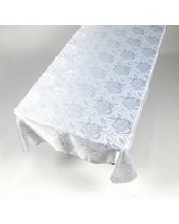 Rose Damask 60x108 Fabric Tablecloth in White by