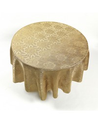 Rose Damask 70 Round Fabric Tablecloth in Gold by