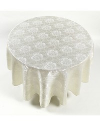 Rose Damask 70 Round Fabric Tablecloth in Ivory by