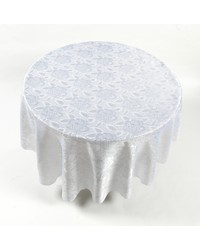 Rose Damask 70 Round Fabric Tablecloth in White by