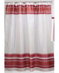 Fleur Fabric Shower Curtain in Burgundy by