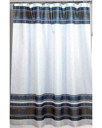 Fleur Fabric Shower Curtain in Slate by
