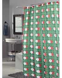 Poinsettia Fabric Shower Curtain by