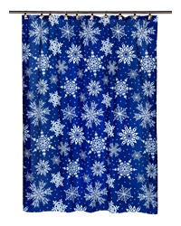 Snow Flakes Fabric Shower Curtain by