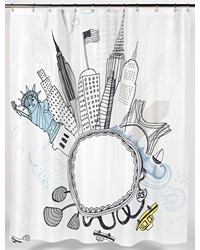 Funky City Fabric Shower Curtain by