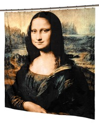 Mona Lisa Fabric Shower Curtain by
