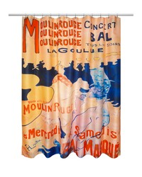 Moulin Rouge Museum Collection Fabric Shower Curtain Size 70x72 Multi by