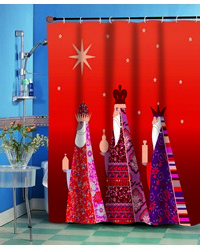 Three Kings Fabric Shower Curtain by