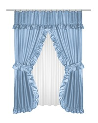 Lauren Double Swag Shower Curtain Light Blue by