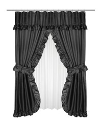 Lauren Double Swag Shower Curtain Black by